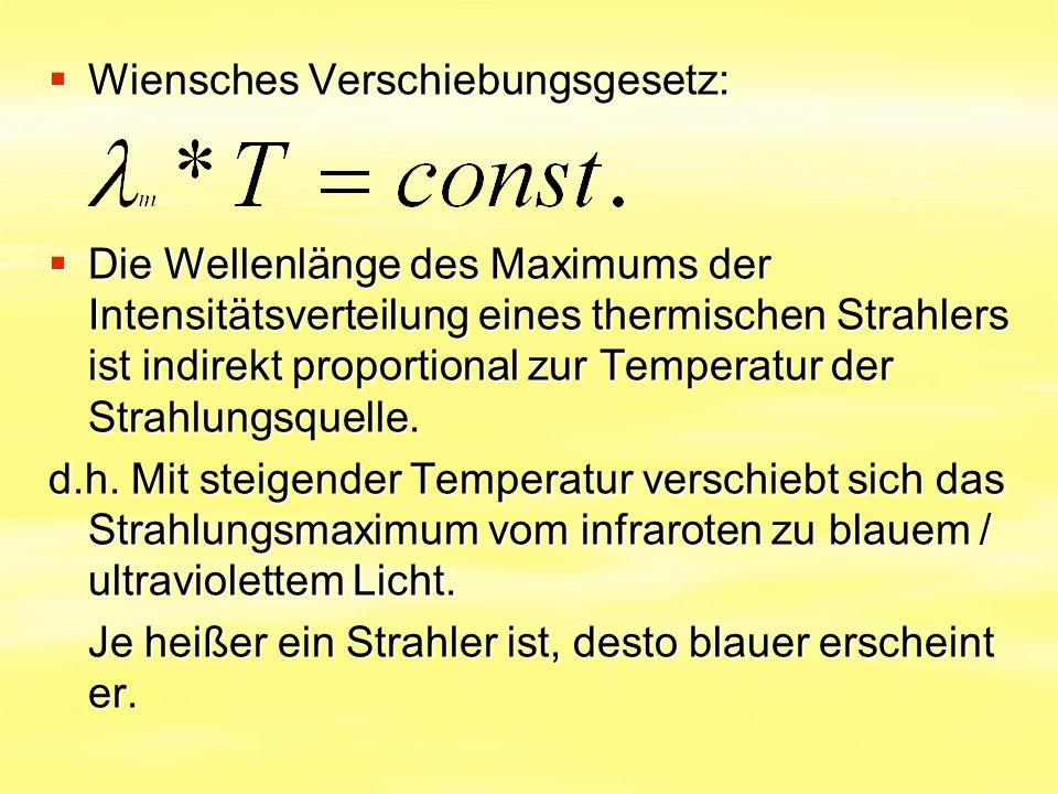  Wiensches Verschiebungsgesetz:  Die Wellenlänge des Maximums der Intensitätsverteilung eines thermischen Strahlers ist indirekt proportional zur Te