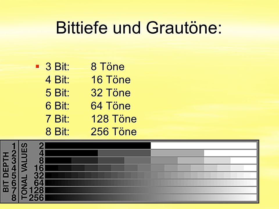 Bittiefe und Grautöne:  3 Bit:8 Töne 4 Bit:16 Töne 5 Bit:32 Töne 6 Bit:64 Töne 7 Bit:128 Töne 8 Bit:256 Töne