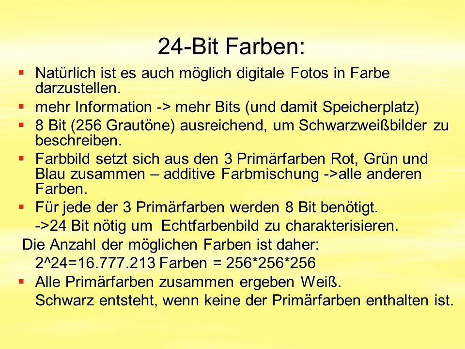 24-Bit Farben:  Natürlich ist es auch möglich digitale Fotos in Farbe darzustellen.  mehr Information -> mehr Bits (und damit Speicherplatz)  8 Bit