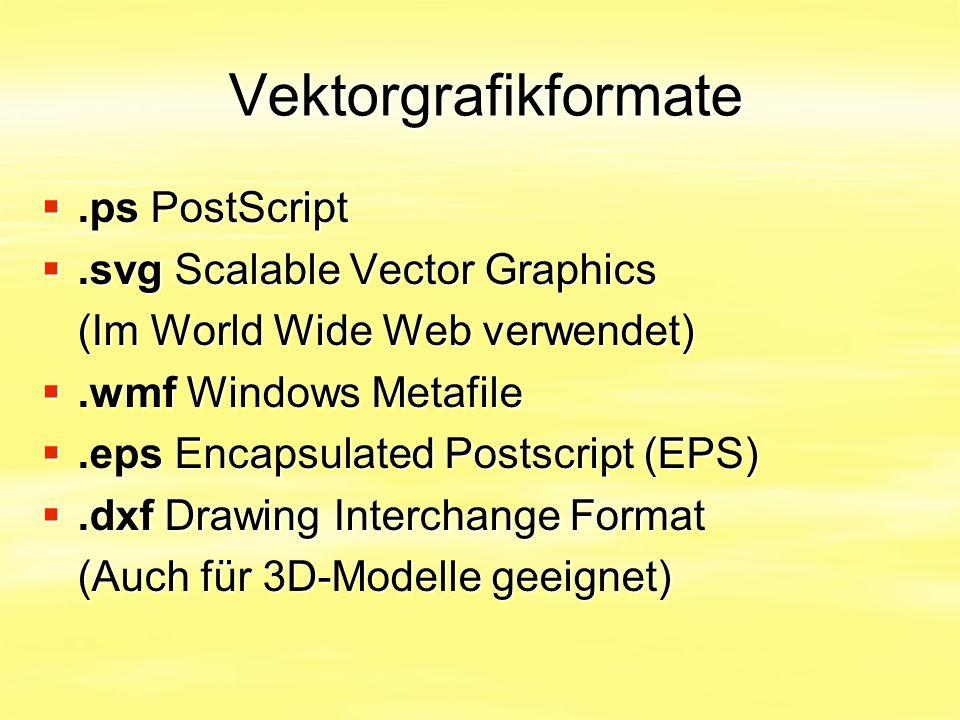 Vektorgrafikformate Vektorgrafikformate .ps PostScript .svg Scalable Vector Graphics (Im World Wide Web verwendet) .wmf Windows Metafile .eps Enca