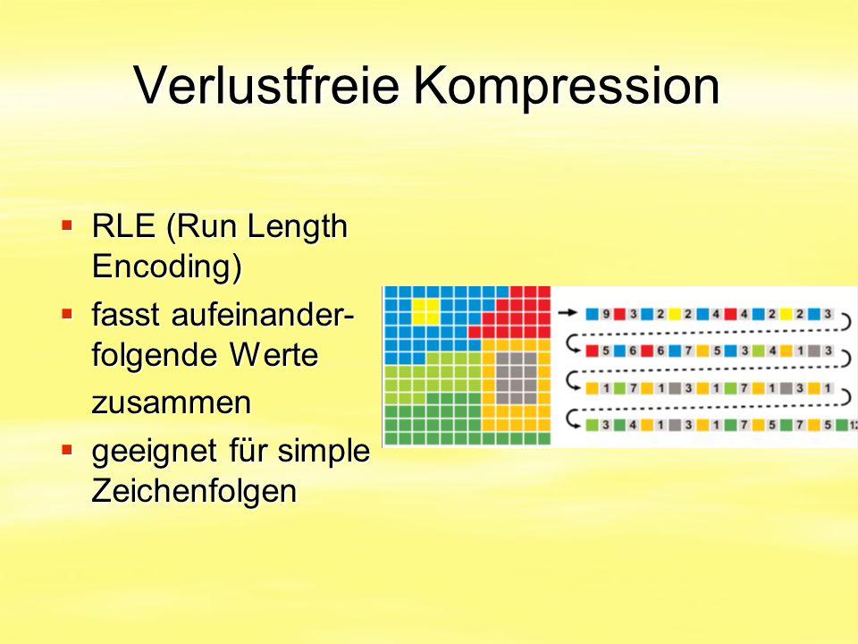 Verlustfreie Kompression  RLE (Run Length Encoding)  fasst aufeinander- folgende Werte zusammen  geeignet für simple Zeichenfolgen