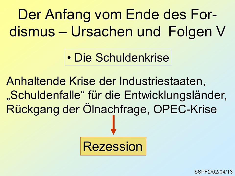 """SSPF2/02/04/14 Die Verheißungen des """"freien Spiels der Kräfte Vertrauenskrise gegenüber staatlichen Regu- lierungsmöglichkeiten, Beginn einer grund- sätzlichen Liberalisierung der Ökonomie."""