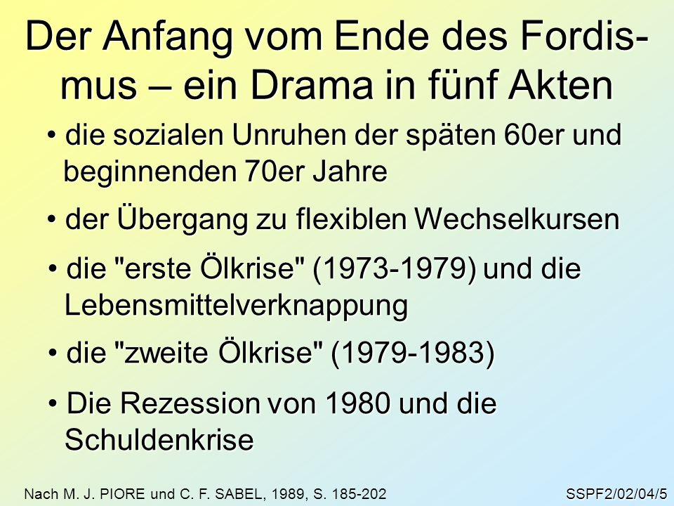 SSPF2/02/04/5 Der Anfang vom Ende des Fordis- mus – ein Drama in fünf Akten die sozialen Unruhen der späten 60er und die sozialen Unruhen der späten 6