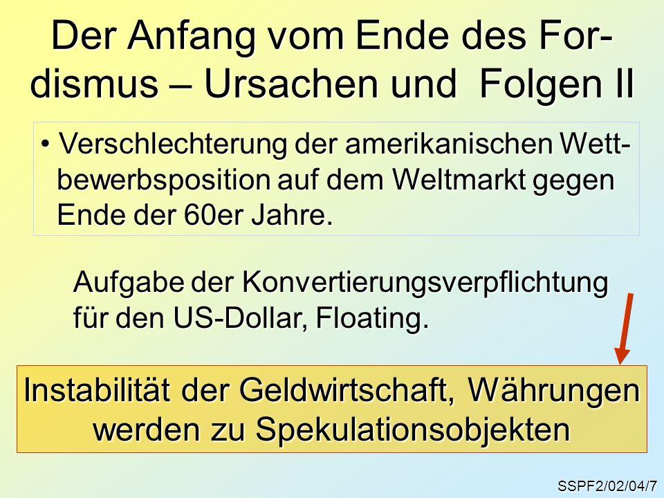SSPF2/02/04/7 Der Anfang vom Ende des For- dismus – Ursachen und Folgen II Verschlechterung der amerikanischen Wett- Verschlechterung der amerikanisch