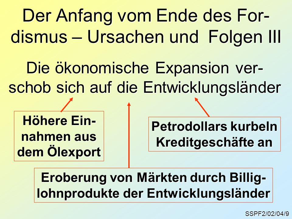 SSPF2/02/04/9 Die ökonomische Expansion ver- schob sich auf die Entwicklungsländer Der Anfang vom Ende des For- dismus – Ursachen und Folgen III Höher
