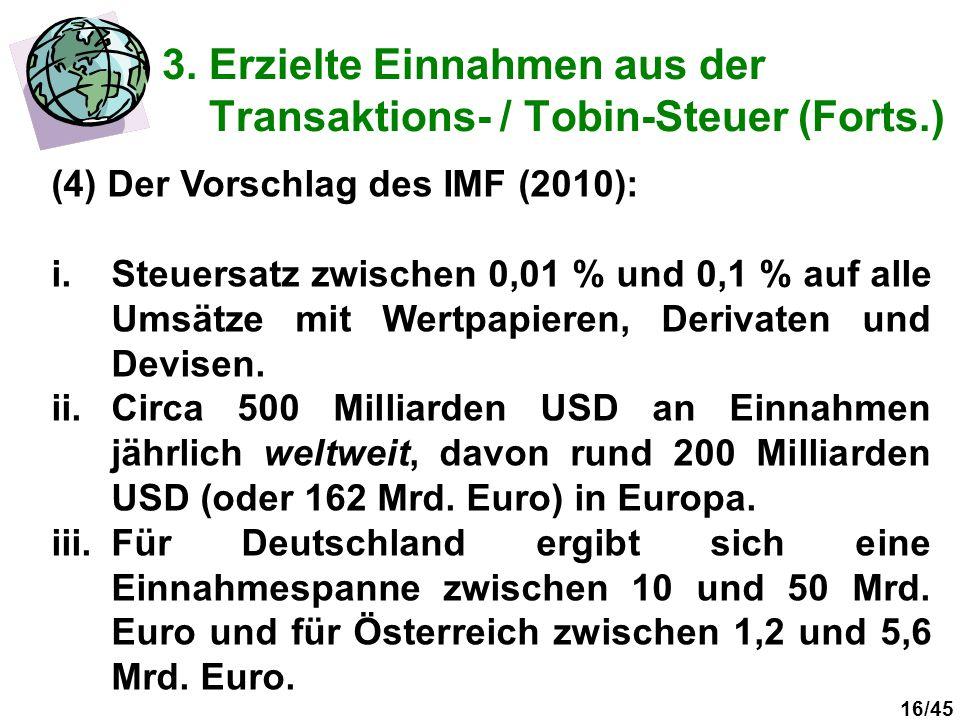 16/45 3. Erzielte Einnahmen aus der Transaktions- / Tobin-Steuer (Forts.) (4) Der Vorschlag des IMF (2010): i.Steuersatz zwischen 0,01 % und 0,1 % auf