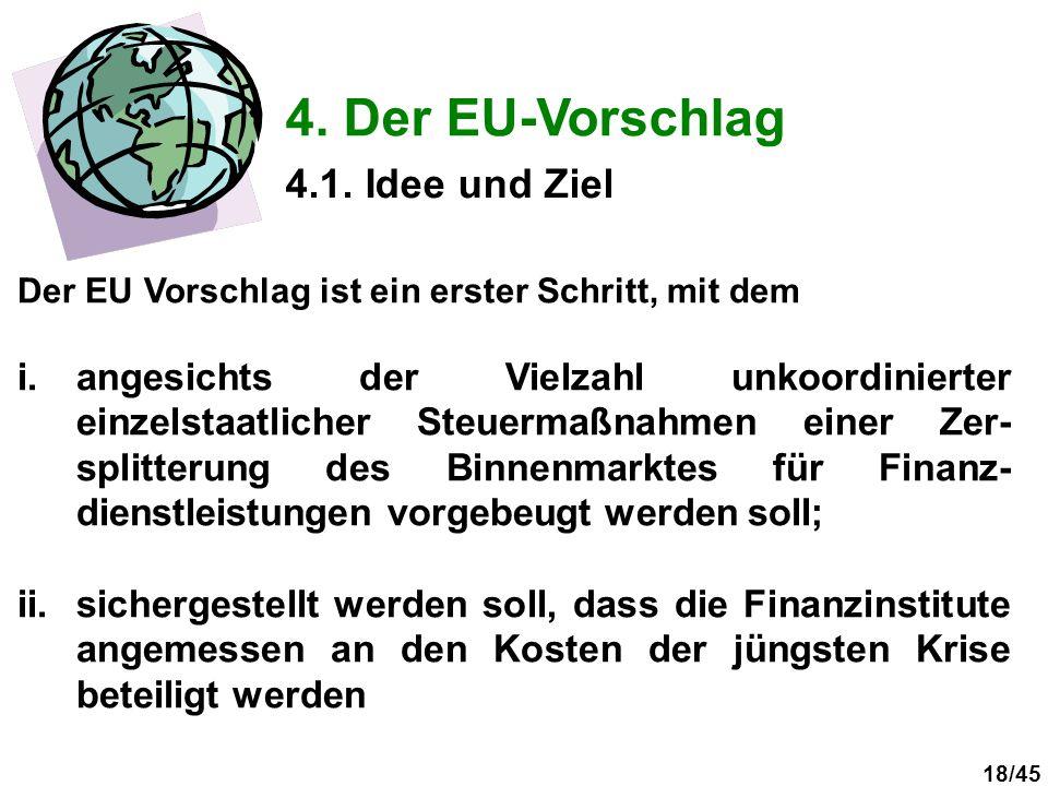 18/45 4. Der EU-Vorschlag Der EU Vorschlag ist ein erster Schritt, mit dem i.angesichts der Vielzahl unkoordinierter einzelstaatlicher Steuermaßnahmen