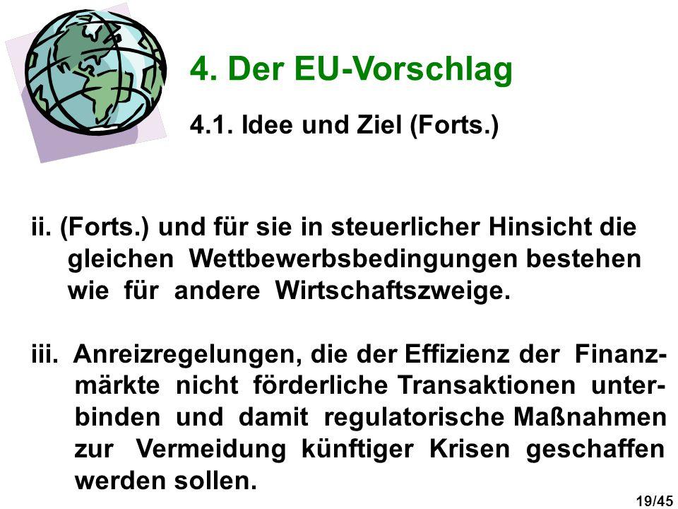 19/45 4. Der EU-Vorschlag 4.1. Idee und Ziel (Forts.) ii. (Forts.) und für sie in steuerlicher Hinsicht die gleichen Wettbewerbsbedingungen bestehen w