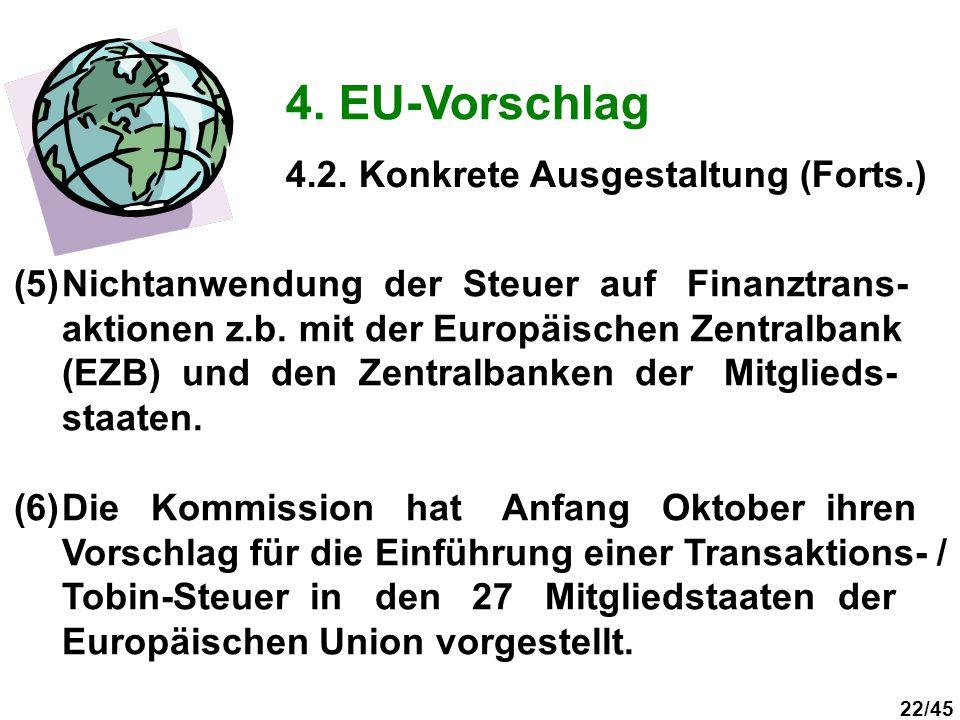 22/45 4. EU-Vorschlag (5)Nichtanwendung der Steuer auf Finanztrans- aktionen z.b. mit der Europäischen Zentralbank (EZB) und den Zentralbanken der Mit