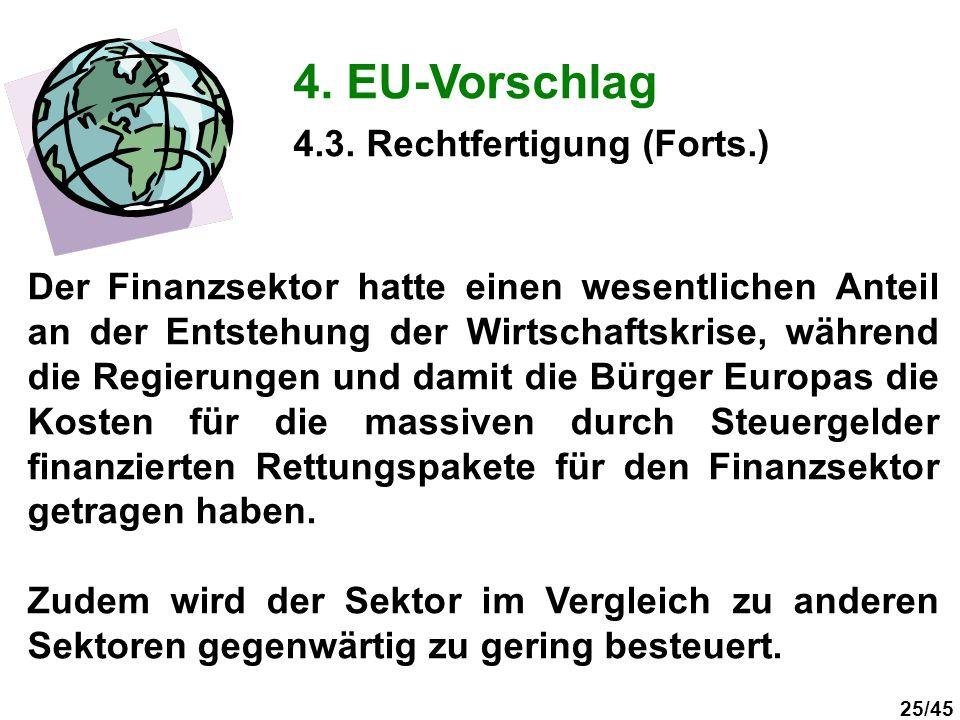 25/45 4. EU-Vorschlag Der Finanzsektor hatte einen wesentlichen Anteil an der Entstehung der Wirtschaftskrise, während die Regierungen und damit die B