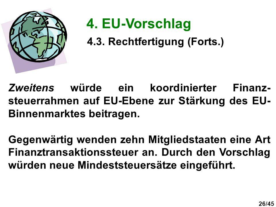26/45 4. EU-Vorschlag Zweitens würde ein koordinierter Finanz- steuerrahmen auf EU-Ebene zur Stärkung des EU- Binnenmarktes beitragen. Gegenwärtig wen