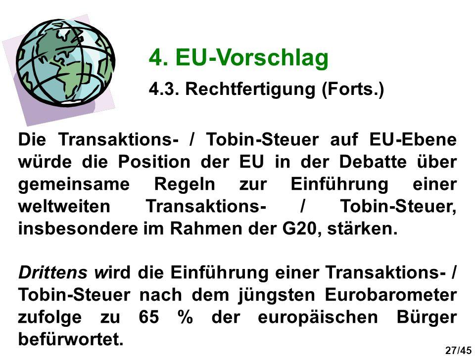 27/45 4. EU-Vorschlag Die Transaktions- / Tobin-Steuer auf EU-Ebene würde die Position der EU in der Debatte über gemeinsame Regeln zur Einführung ein