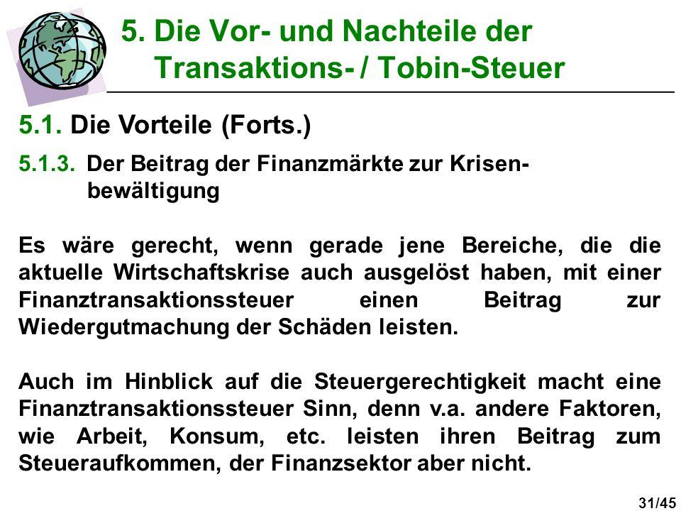 31/45 5. Die Vor- und Nachteile der Transaktions- / Tobin-Steuer __________________________________________________ 5.1. Die Vorteile (Forts.) 5.1.3.D
