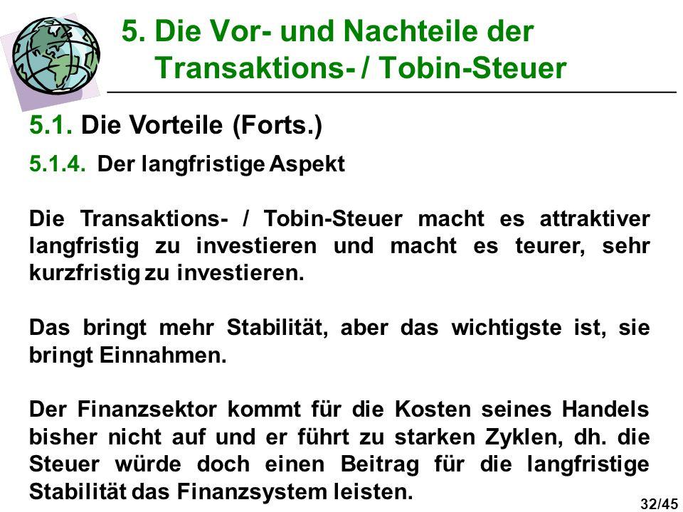 32/45 5. Die Vor- und Nachteile der Transaktions- / Tobin-Steuer __________________________________________________ 5.1. Die Vorteile (Forts.) 5.1.4.D