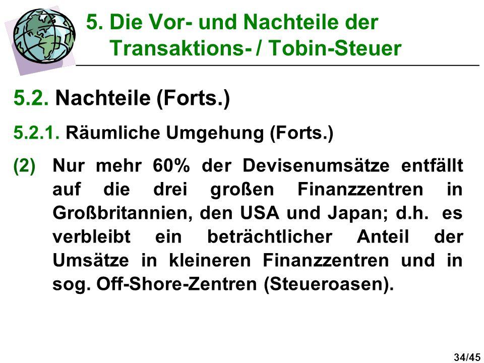 34/45 5.2. Nachteile (Forts.) 5.2.1. Räumliche Umgehung (Forts.) (2)Nur mehr 60% der Devisenumsätze entfällt auf die drei großen Finanzzentren in Groß