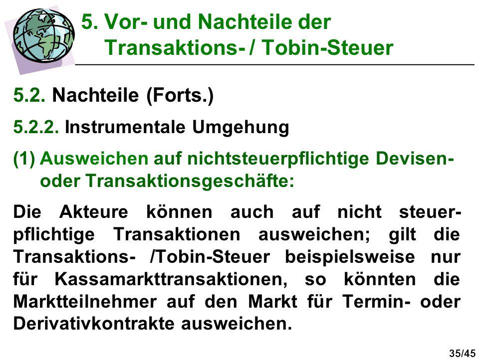 35/45 5. Vor- und Nachteile der Transaktions- / Tobin-Steuer 5.2. Nachteile (Forts.) 5.2.2. Instrumentale Umgehung (1)Ausweichen auf nichtsteuerpflich
