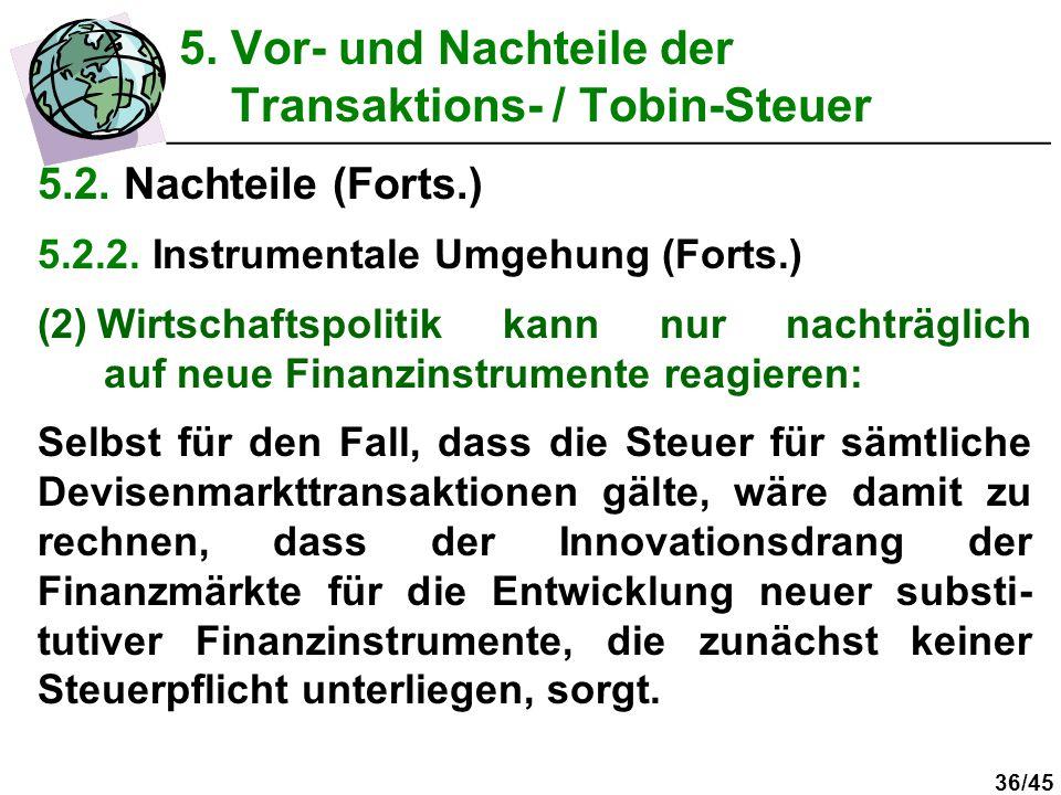 36/45 5.2. Nachteile (Forts.) 5.2.2. Instrumentale Umgehung (Forts.) (2)Wirtschaftspolitik kann nur nachträglich auf neue Finanzinstrumente reagieren: