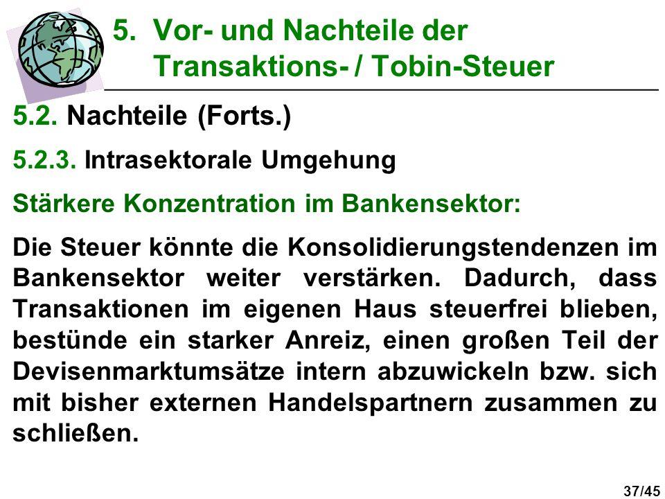 37/45 5.2. Nachteile (Forts.) 5.2.3. Intrasektorale Umgehung Stärkere Konzentration im Bankensektor: Die Steuer könnte die Konsolidierungstendenzen im