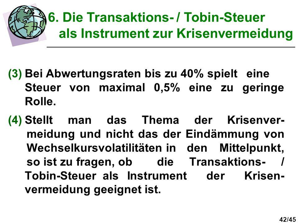 42/45 (3)Bei Abwertungsraten bis zu 40% spielt eine Steuer von maximal 0,5% eine zu geringe Rolle. (4)Stellt man das Thema der Krisenver- meidung und