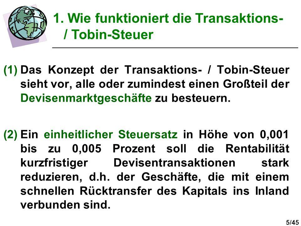 5/45 (1)Das Konzept der Transaktions- / Tobin-Steuer sieht vor, alle oder zumindest einen Großteil der Devisenmarktgeschäfte zu besteuern. (2)Ein einh