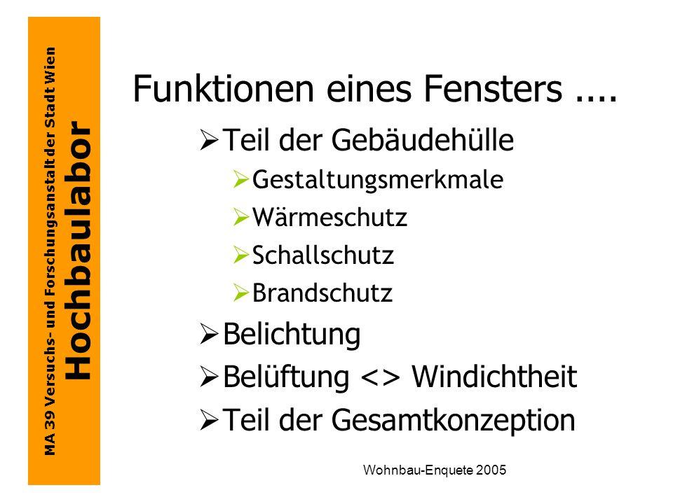 MA 39 Versuchs- und Forschungsanstalt der Stadt Wien Hochbaulabor Wohnbau-Enquete 2005...