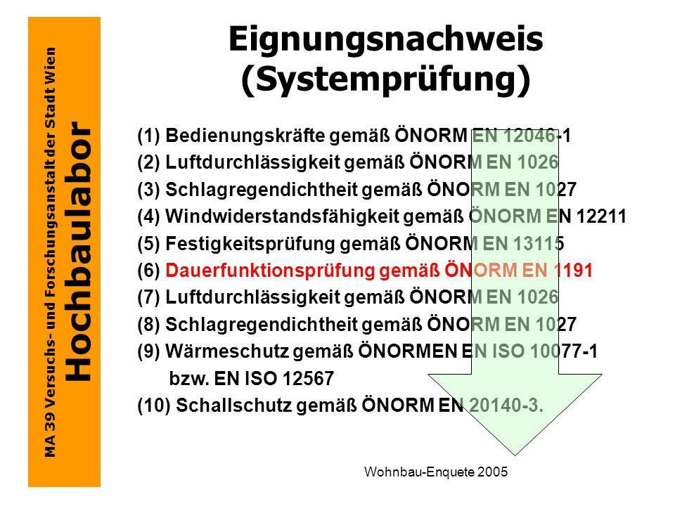 MA 39 Versuchs- und Forschungsanstalt der Stadt Wien Hochbaulabor Wohnbau-Enquete 2005 Eignungsnachweis (Systemprüfung) (1) Bedienungskräfte gemäß ÖNORM EN 12046-1 (2) Luftdurchlässigkeit gemäß ÖNORM EN 1026 (3) Schlagregendichtheit gemäß ÖNORM EN 1027 (4) Windwiderstandsfähigkeit gemäß ÖNORM EN 12211 (5) Festigkeitsprüfung gemäß ÖNORM EN 13115 (6) Dauerfunktionsprüfung gemäß ÖNORM EN 1191 (7) Luftdurchlässigkeit gemäß ÖNORM EN 1026 (8) Schlagregendichtheit gemäß ÖNORM EN 1027 (9) Wärmeschutz gemäß ÖNORMEN EN ISO 10077-1 bzw.