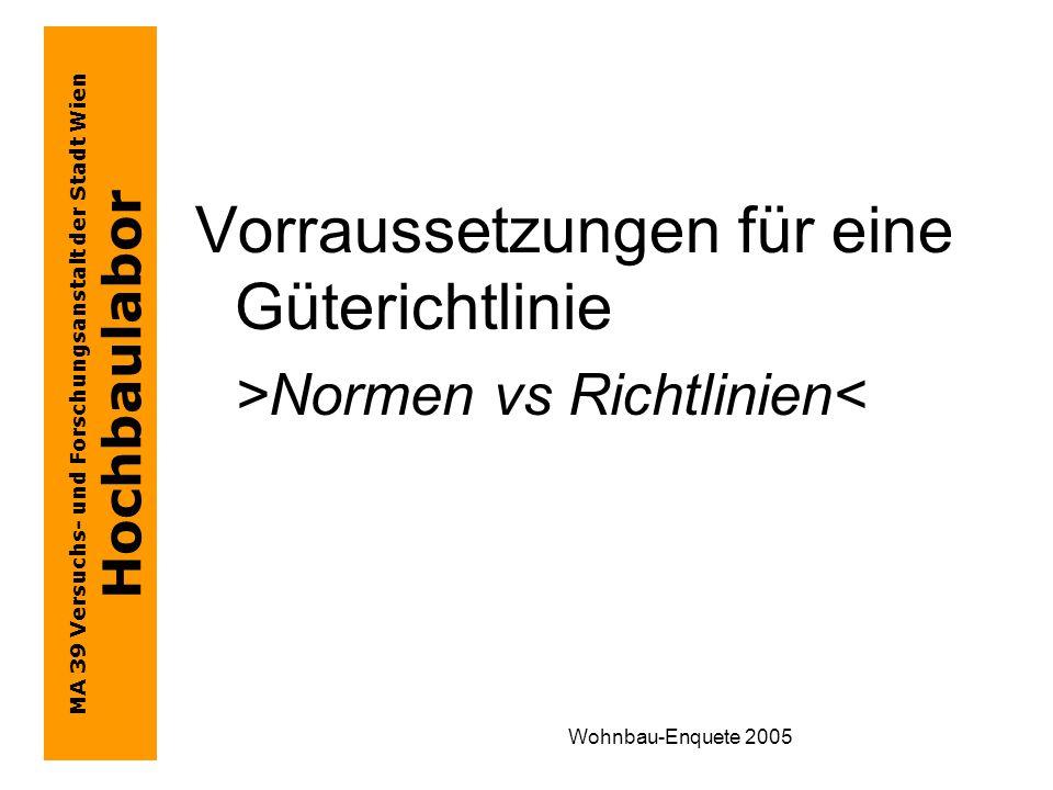 MA 39 Versuchs- und Forschungsanstalt der Stadt Wien Hochbaulabor Wohnbau-Enquete 2005 Vorraussetzungen für eine Güterichtlinie >Normen vs Richtlinien<