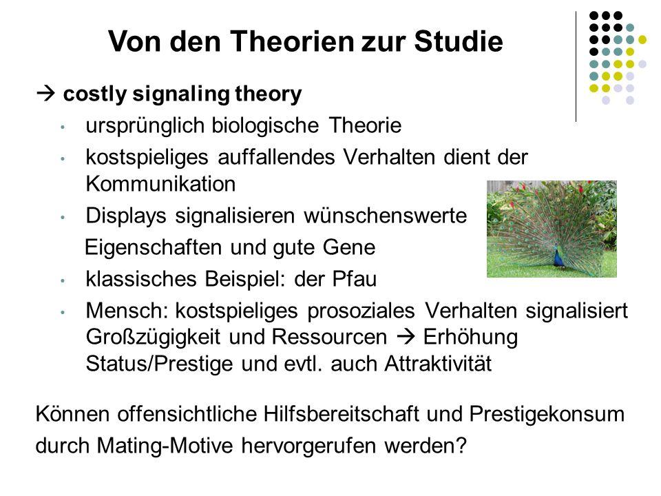  costly signaling theory ursprünglich biologische Theorie kostspieliges auffallendes Verhalten dient der Kommunikation Displays signalisieren wünsche