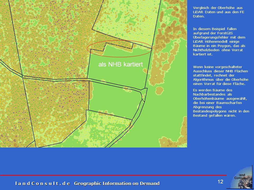 l a n d C o n s u l t. d e Geographic Information on Demand 12 Vergleich der Oberhöhe aus LiDAR Daten und aus den FE Daten. In diesem Beispiel fallen