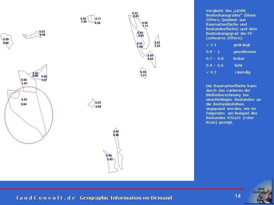"""l a n d C o n s u l t. d e Geographic Information on Demand 14 Vergleich des """"LiDAR Bestockunsgrades"""" (blaue Ziffern, Quotient aus Baumartenfläche und"""