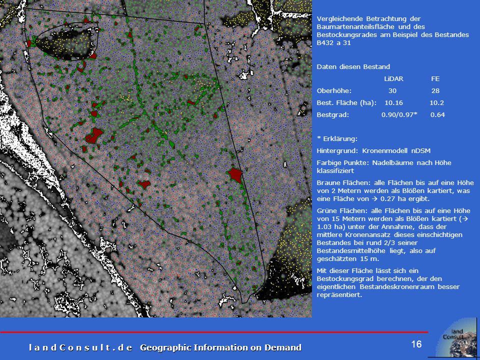 l a n d C o n s u l t. d e Geographic Information on Demand 16 Vergleichende Betrachtung der Baumartenanteilsfläche und des Bestockungsrades am Beispi