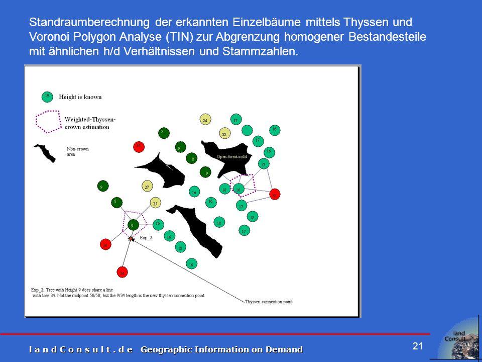 l a n d C o n s u l t. d e Geographic Information on Demand 21 Standraumberechnung der erkannten Einzelbäume mittels Thyssen und Voronoi Polygon Analy