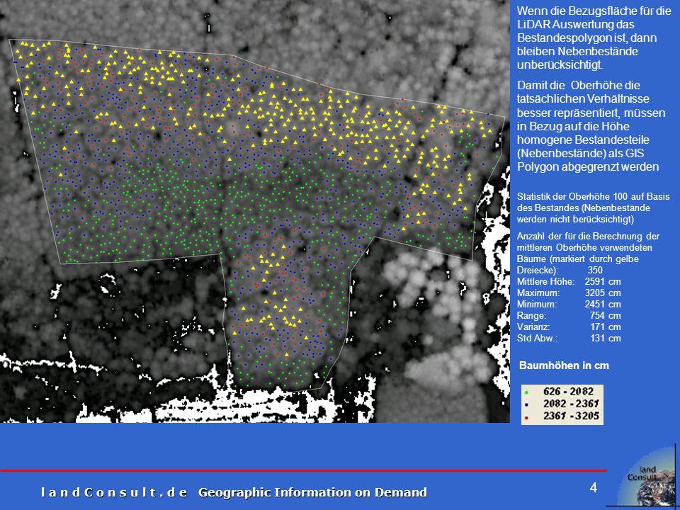 l a n d C o n s u l t. d e Geographic Information on Demand 4 Statistik der Oberhöhe 100 auf Basis des Bestandes (Nebenbestände werden nicht berücksic