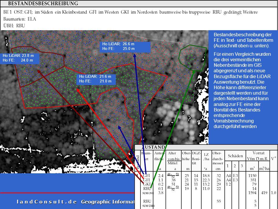 l a n d C o n s u l t. d e Geographic Information on Demand 6 Ho LiDAR: 23.8 m Ho FE: 24.0 m Ho LiDAR: 21.6 m Ho FE: 21.0 m Ho LiDAR: 26.6 m Ho FE: 25