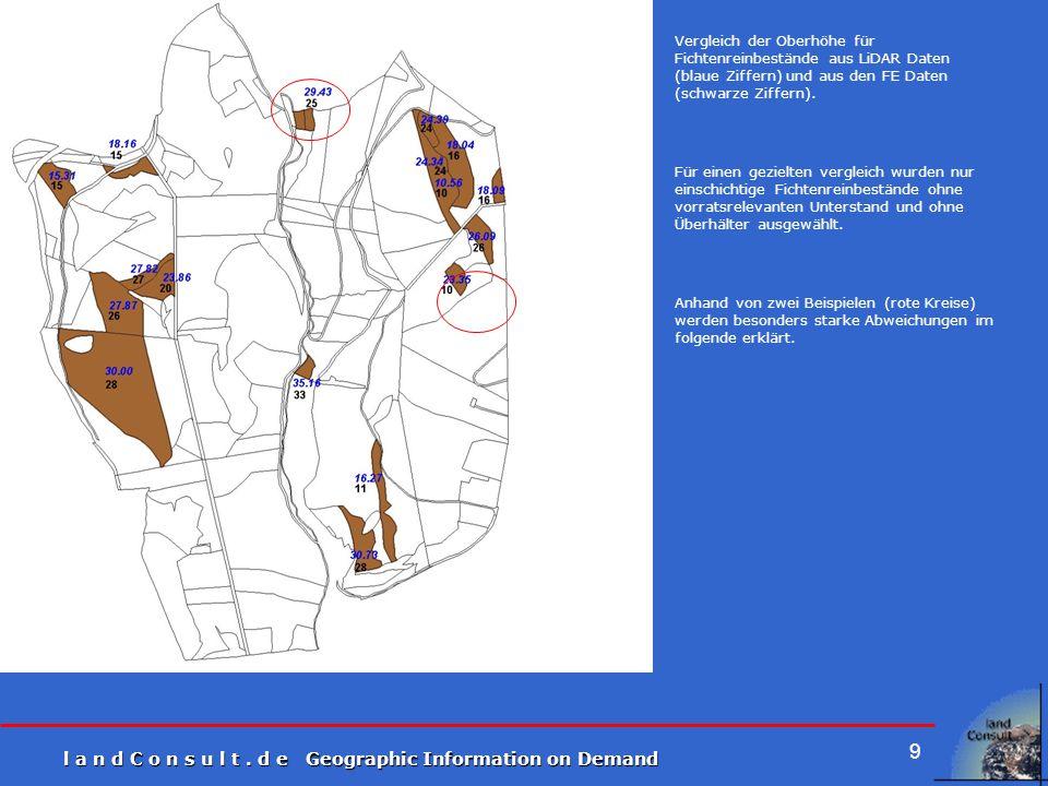 l a n d C o n s u l t. d e Geographic Information on Demand 9 Vergleich der Oberhöhe für Fichtenreinbestände aus LiDAR Daten (blaue Ziffern) und aus d