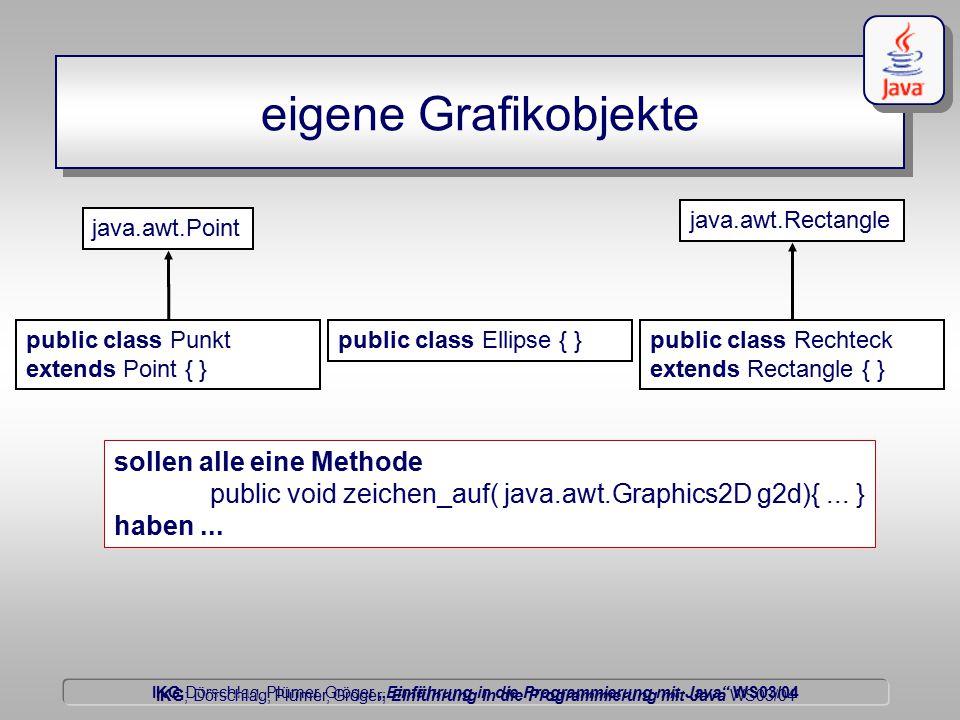 """IKG Dörschlag, Plümer, Gröger """"Einführung in die Programmierung mit Java WS03/04 Dörschlag IKG; Dörschlag, Plümer, Gröger; Einführung in die Programmierung mit Java WS03/04 eigene Grafikobjekte java.awt.Rectangle public class Punkt extends Point { } public class Ellipse { }public class Rechteck extends Rectangle { } sollen alle eine Methode public void zeichen_auf( java.awt.Graphics2D g2d){..."""