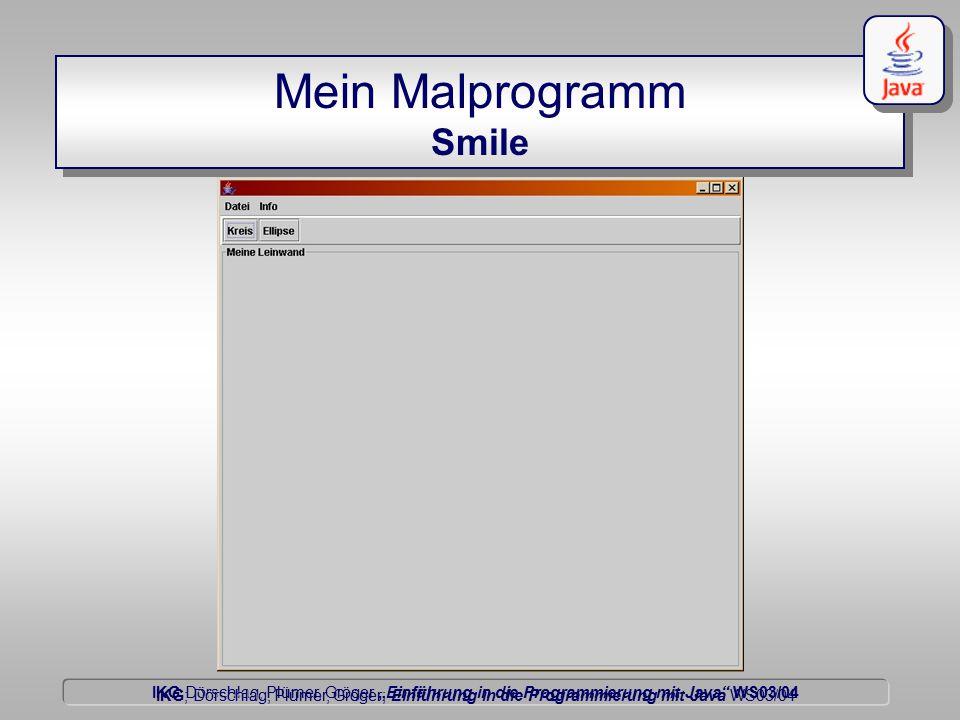 """IKG Dörschlag, Plümer, Gröger """"Einführung in die Programmierung mit Java WS03/04 Dörschlag IKG; Dörschlag, Plümer, Gröger; Einführung in die Programmierung mit Java WS03/04 Malen auf einem JPanel Beispiel : Beispiel : malt einen Kreis und einen Text public class Leinwand extends JPanel { public void paintComponent( java.awt.Graphics g){ super.paintComponent( g); java.awt.Graphics2D g2d = (java.awt.Graphics2D) g; g2d.drawOval( 13, 12, 14, 14 ); g2d.setColor( new java.awt.Color( 0, 0, 255)); g2d.setStroke( new java.awt.BasicStroke(2)); g2d.drawString( Mein Text , 80, 80 );..."""