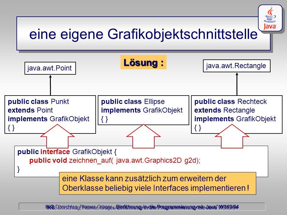 """IKG Dörschlag, Plümer, Gröger """"Einführung in die Programmierung mit Java WS03/04 Dörschlag IKG; Dörschlag, Plümer, Gröger; Einführung in die Programmierung mit Java WS03/04 public class Punkt extends Point implements GrafikObjekt { } public class Ellipse implements GrafikObjekt { } public class Rechteck extends Rectangle implements GrafikObjekt { } Lösung : eine eigene Grafikobjektschnittstelle public interface GrafikObjekt { public void zeichnen_auf( java.awt.Graphics2D g2d); } eine Klasse kann zusätzlich zum erweitern der Oberklasse beliebig viele Interfaces implementieren ."""