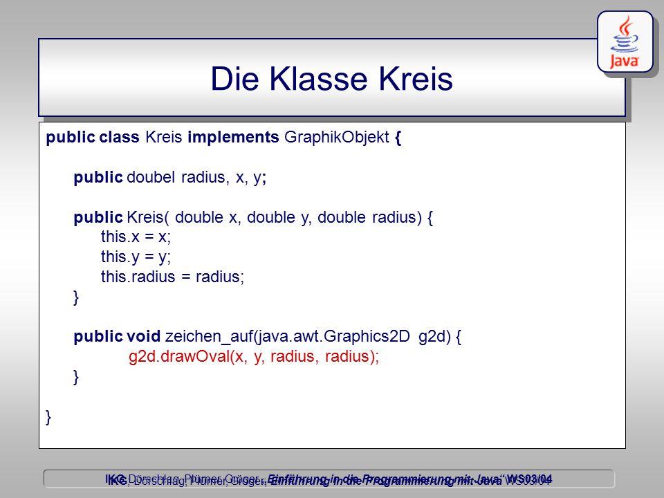 """IKG Dörschlag, Plümer, Gröger """"Einführung in die Programmierung mit Java WS03/04 Dörschlag IKG; Dörschlag, Plümer, Gröger; Einführung in die Programmierung mit Java WS03/04 Die Klasse Kreis public class Kreis implements GraphikObjekt { public doubel radius, x, y; public Kreis( double x, double y, double radius) { this.x = x; this.y = y; this.radius = radius; } public void zeichen_auf(java.awt.Graphics2D g2d) { g2d.drawOval(x, y, radius, radius); }"""