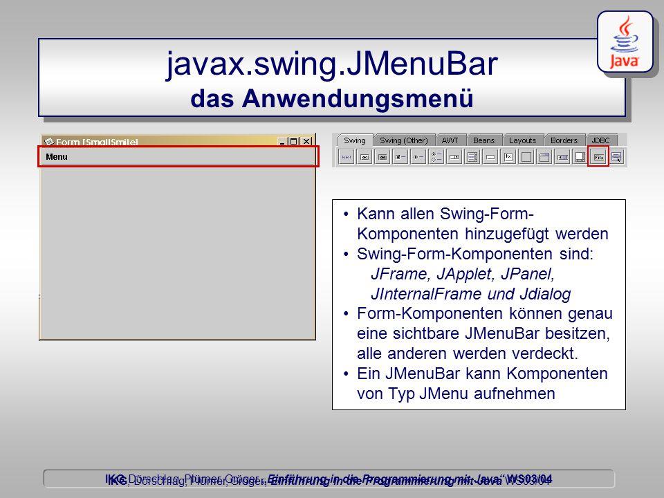 """IKG Dörschlag, Plümer, Gröger """"Einführung in die Programmierung mit Java WS03/04 Dörschlag IKG; Dörschlag, Plümer, Gröger; Einführung in die Programmierung mit Java WS03/04 eigene Grafikobjekte darstellen durchlaufen einer Liste import javax.swing.*; import java.util.Enumeration; public class Leinwand extends JPanel { public DefaultListModel grafik_objekte; public void paintComponent( java.awt.Graphics g){ super.paintComponent( g); java.awt.Graphics2D g2d = (java.awt.Graphics2D) g; Enumeration laeufer = grafik_objekte.elements(); while(laeufer.hasMoreElements()){ GrafikObjekt go = (GrafikObjekt) laeufer.nextElement() go.zeichen_auf( g2d); }"""
