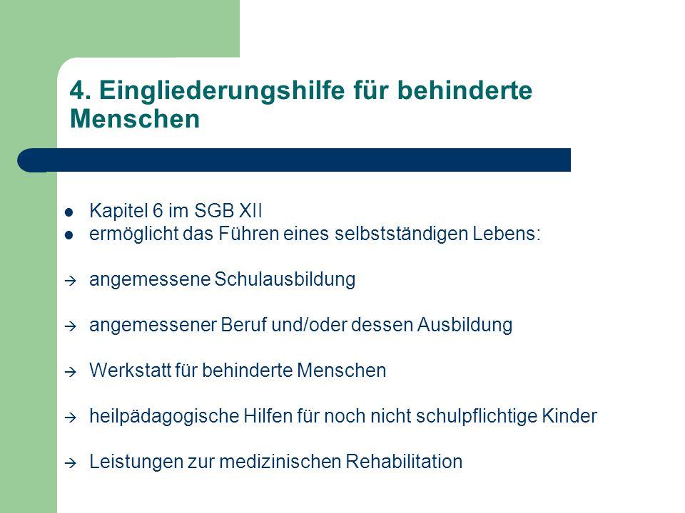 4. Eingliederungshilfe für behinderte Menschen Kapitel 6 im SGB XII ermöglicht das Führen eines selbstständigen Lebens:  angemessene Schulausbildung