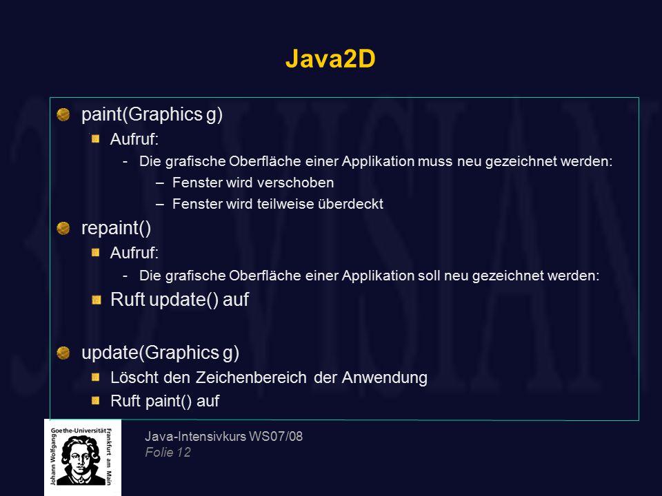 Java-Intensivkurs WS07/08 Folie 12 Java2D paint(Graphics g) Aufruf: -Die grafische Oberfläche einer Applikation muss neu gezeichnet werden: –Fenster w