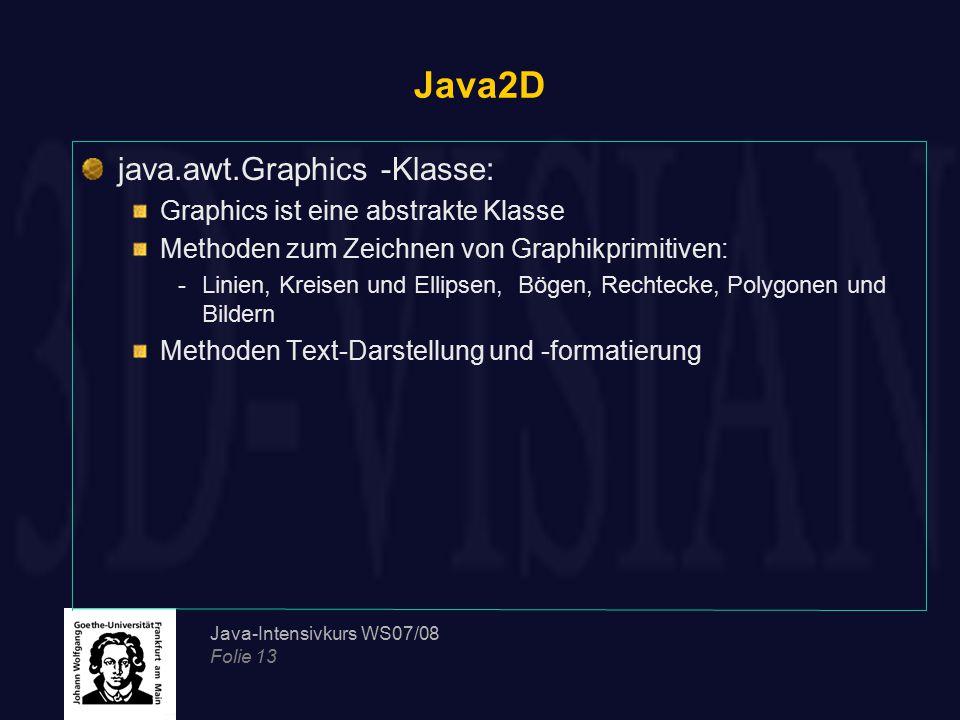 Java-Intensivkurs WS07/08 Folie 13 Java2D java.awt.Graphics -Klasse: Graphics ist eine abstrakte Klasse Methoden zum Zeichnen von Graphikprimitiven: -