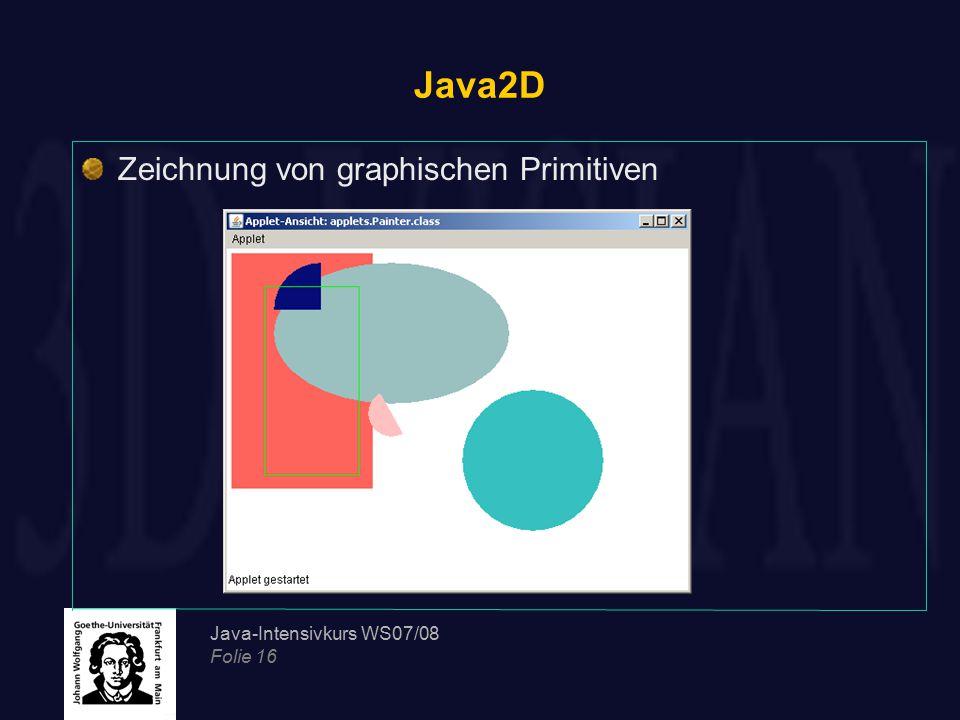 Java-Intensivkurs WS07/08 Folie 16 Java2D Zeichnung von graphischen Primitiven