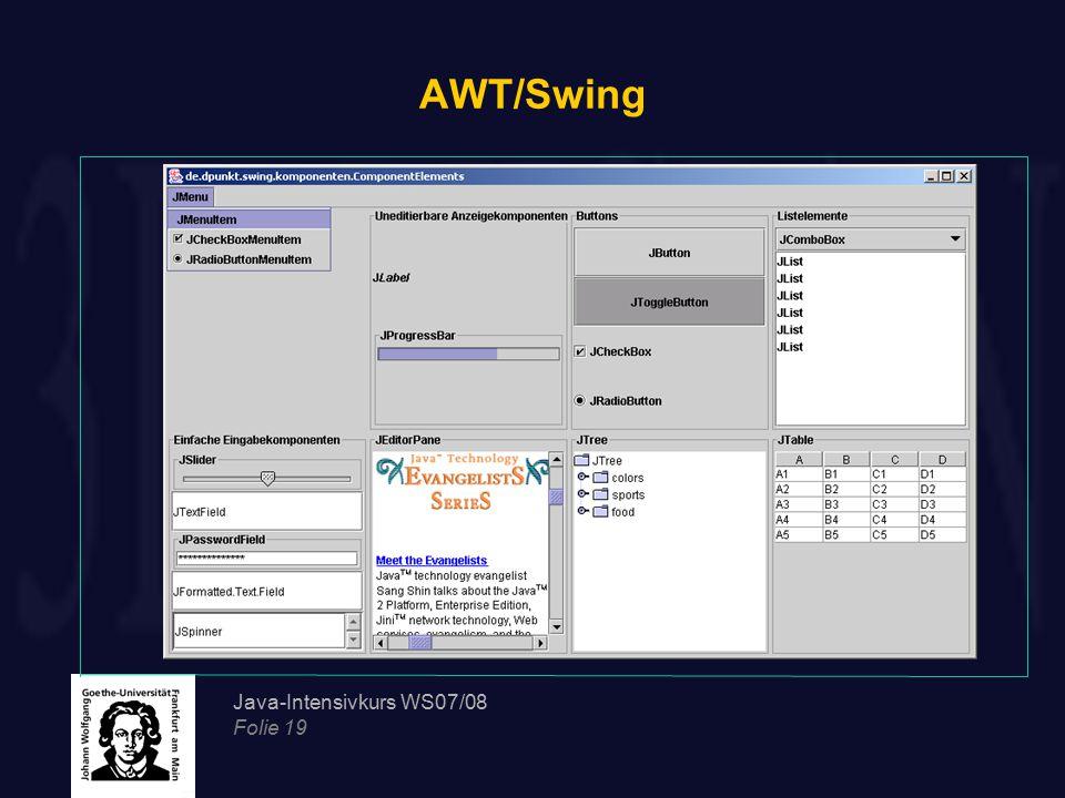 Java-Intensivkurs WS07/08 Folie 19 AWT/Swing