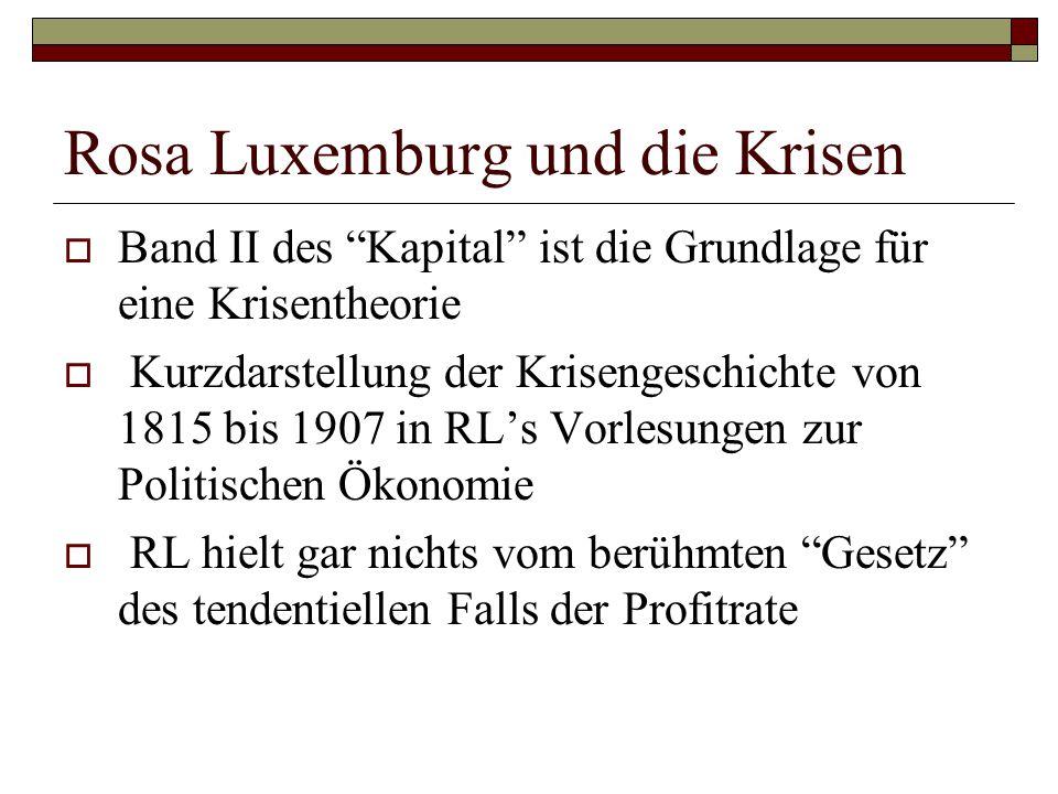 """Rosa Luxemburg und die Krisen  Band II des """"Kapital"""" ist die Grundlage für eine Krisentheorie  Kurzdarstellung der Krisengeschichte von 1815 bis 190"""