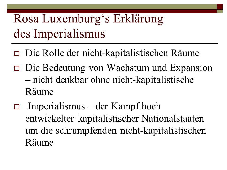 Rosa Luxemburg's Erklärung des Imperialismus  Die Rolle der nicht-kapitalistischen Räume  Die Bedeutung von Wachstum und Expansion – nicht denkbar o