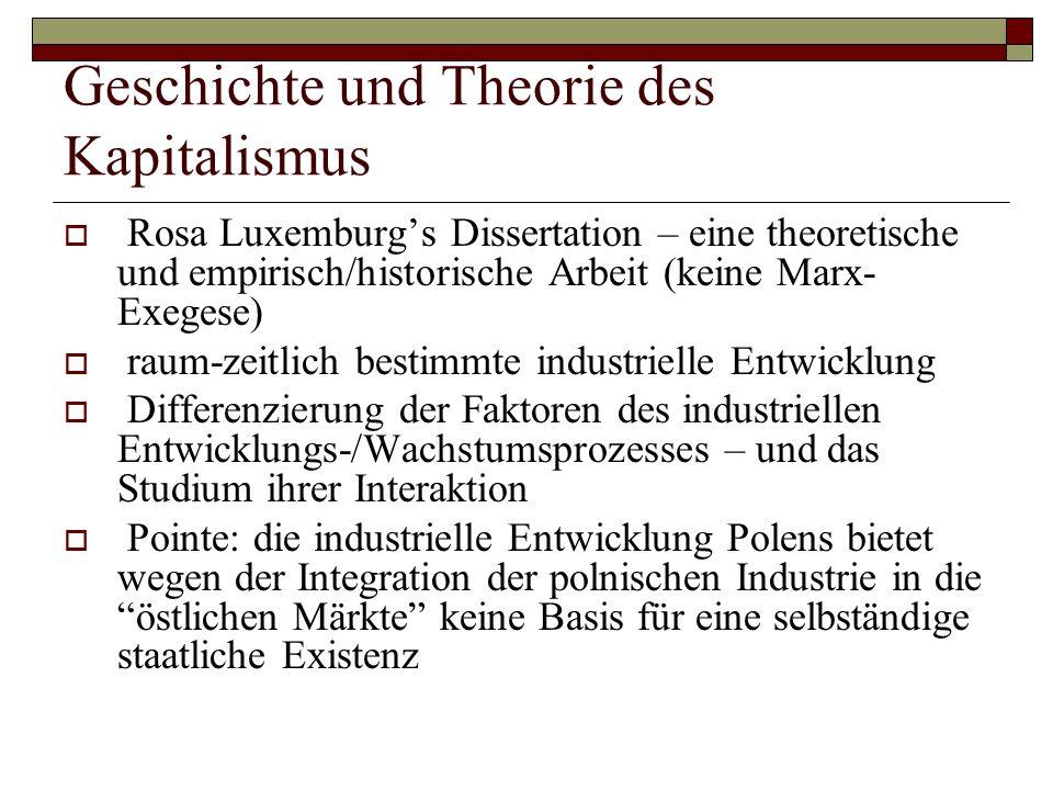 Geschichte und Theorie des Kapitalismus  Rosa Luxemburg's Dissertation – eine theoretische und empirisch/historische Arbeit (keine Marx- Exegese)  r