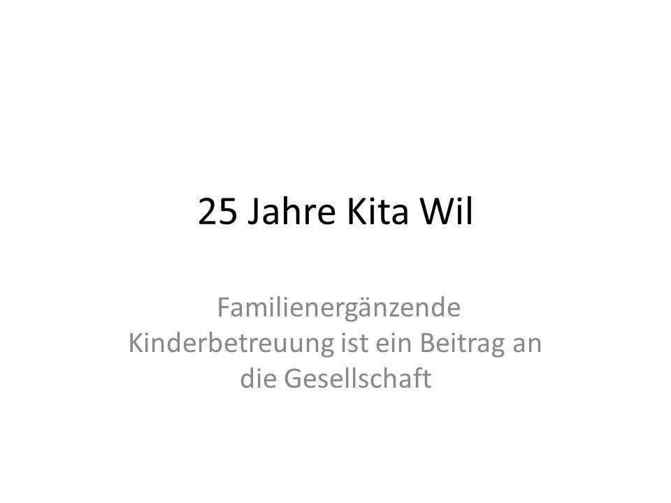 25 Jahre Kita Wil Familienergänzende Kinderbetreuung ist ein Beitrag an die Gesellschaft