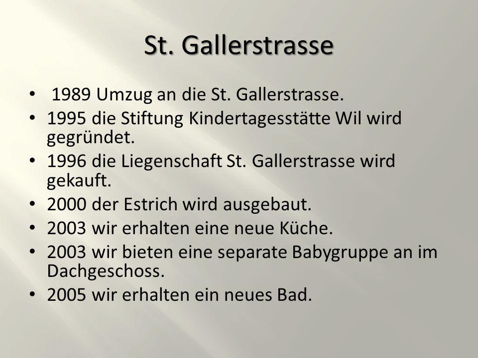 St. Gallerstrasse 1989 Umzug an die St. Gallerstrasse.